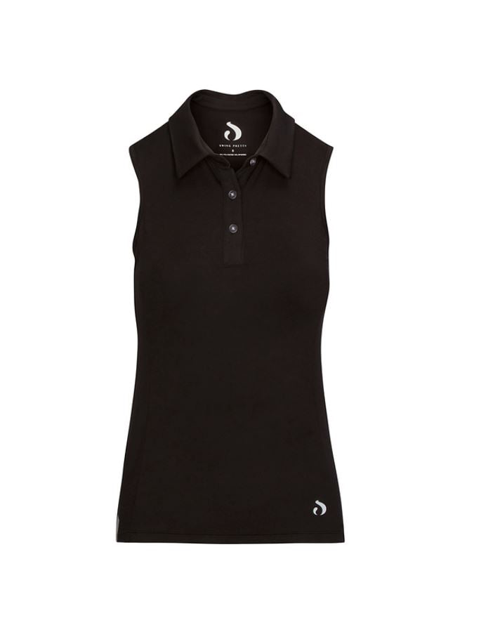 Racerback Sleeveless Polo - Black