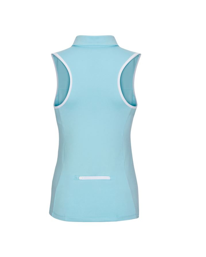 Racerback Sleeveless Polo - Tiffany Blue & White