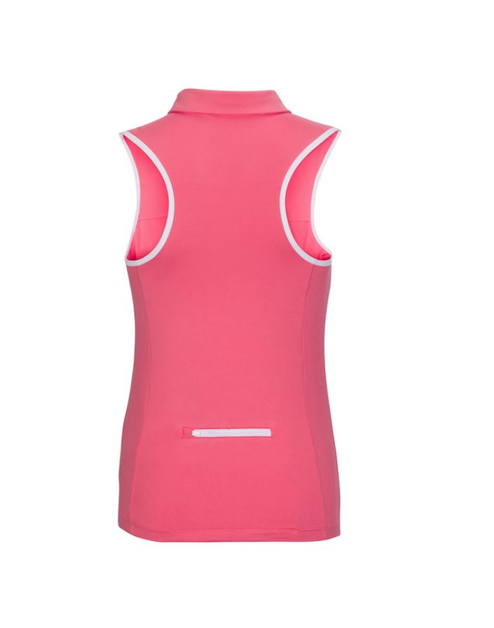 Racerback Sleeveless Polo - Pink & White