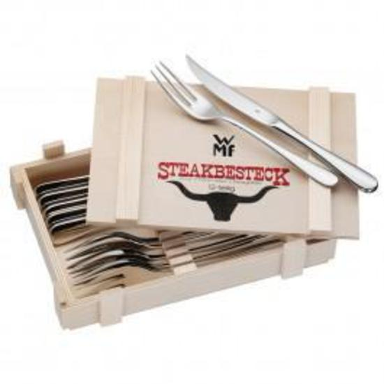 WMF Steak Knife/Fork Set Wooden Box 12pc