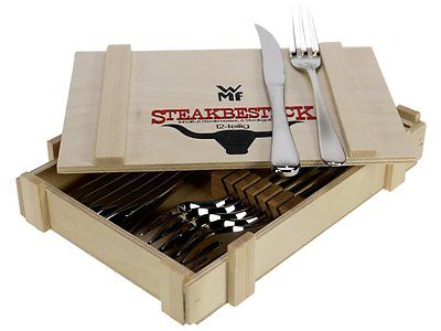 WMF Steak Set 12pc knife/fork set in wooden box