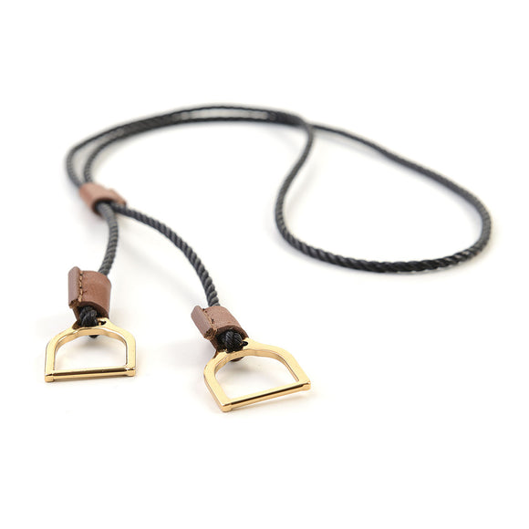 Necklaces | Wave Stirrup | Makebe | fashion accessories | Necklace | Made in Italy | leather necklace | elegance | equestrian | riding fashion accessories | black |