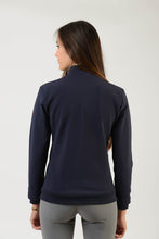 Load image into Gallery viewer, Technical Sweater | model GAIA | lady sweater | riding sweater | leisure time | sweater | clothing | equestrian | Makebe | elegance | comfort | comfort of movement | Made in Italy | riding | lady jacket | jacket | blue |