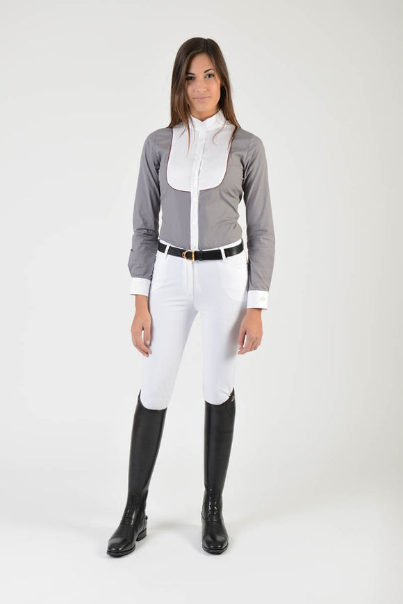 Ladies long sleeve shirt | lady long sleeve shirt | cotton | long sleeves shirt | model GRACE | long sleeves riding shirt | lady riding shirt | riding shirt | ladies riding shirt | comfort of movement | Makebe | clothing | equestrian | riding | technical material | made in Italy | elegance | grey |