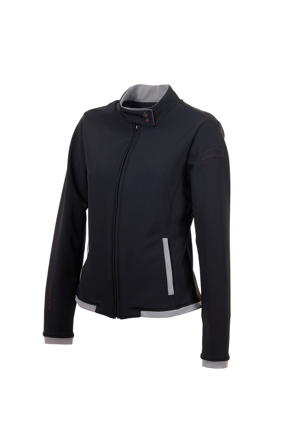 black jacket EMMA | ladies bomber | middle season bomber | Technical Sweater | lady sweater | riding sweater | leisure time | sweater | clothing | equestrian | Makebe | elegance | comfort | comfort of movement | Made in Italy | riding | lady jacket | jacket |