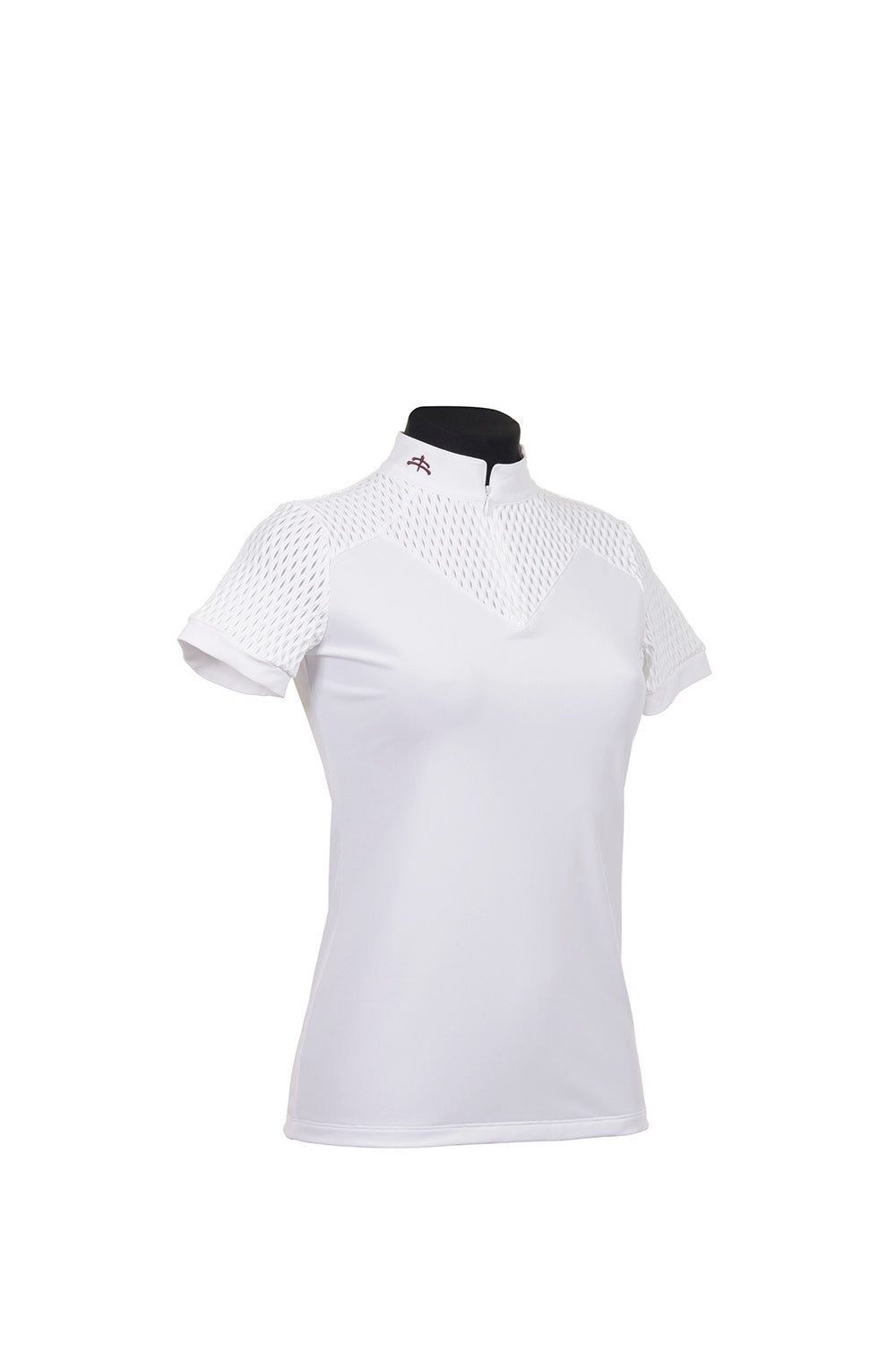 KJ | ladies shirt short sleeve | technical fabric | short sleeves shirt | short sleeves riding shirt | lady shirt | lady riding shirt | riding shirt | ladies riding shirt | lady riding polo shirt | comfort of movement | Makebe | clothing | equestrian | riding | technical material | made in Italy | elegance | white |