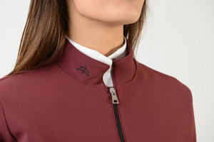 Technical Sweater | model GAIA | lady sweater | riding sweater | leisure time | sweater | clothing | equestrian | Makebe | elegance | comfort | comfort of movement | Made in Italy | riding | lady jacket | jacket | bordeaux |