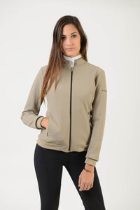 Technical Sweater | model GAIA | lady sweater | riding sweater | leisure time | sweater | clothing | equestrian | Makebe | elegance | comfort | comfort of movement | Made in Italy | riding | lady jacket | jacket | beige |