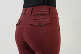 Ladies breeches | lady breeches | equestrian | riding breeches | clothing | grip | model ANNA| Makebe | made in Italy | comfort of movement | gel grip | technical materials | bordeaux |