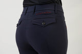 Ladies breeches | lady breeches | equestrian | riding breeches | clothing | grip | model ANNA| Makebe | made in Italy | comfort of movement | gel grip | technical materials | blue |
