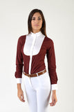 Ladies long sleeve shirt | lady long sleeve shirt | cotton | long sleeves shirt | model GRACE | long sleeves riding shirt | lady riding shirt | riding shirt | ladies riding shirt | comfort of movement | Makebe | clothing | equestrian | riding | technical material | made in Italy | elegance | bordeaux |