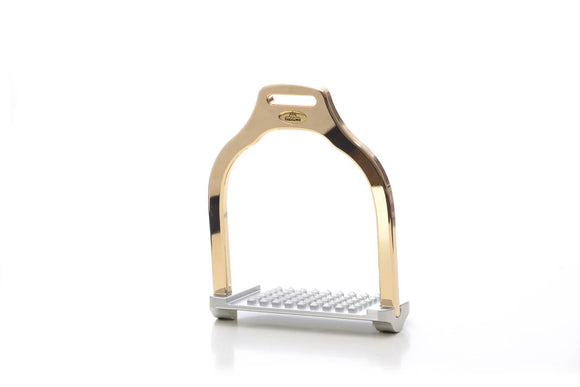 Jump stirrup | wave shape | Makebe | Technical | equestrian | riding | aluminum | inclined bench | easy to clean | innovative grip | Made in Italy | luxy gold | comfortable | comfort | anodic oxidation