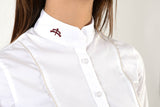 Ladies long sleeve shirt | lady long sleeve shirt | cotton | long sleeves shirt | model GRACE | long sleeves riding shirt | lady riding shirt | riding shirt | ladies riding shirt | comfort of movement | Makebe | clothing | equestrian | riding | technical material | made in Italy | elegance | white |