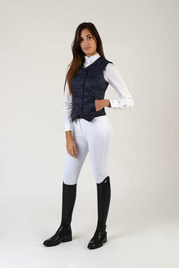 Ladies jacket | lady jacket | Body Warmer | model LADYBIRD | Makebe | clothing | equestrian | leisure time | sleeveless | padded | Made in Italy | blue