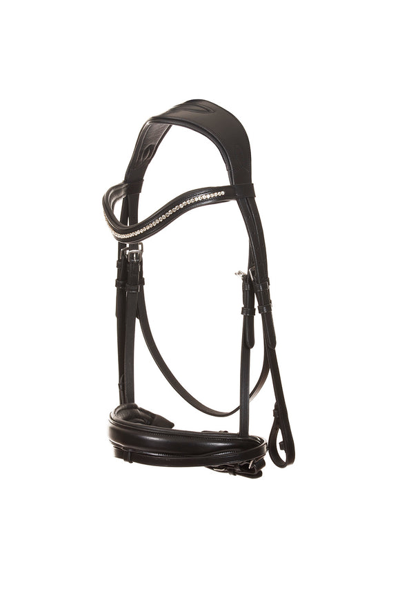 Leather dressage bridle | black leather | beautiful | bowband | decorated with brilliant zircons | Makebe | riding accessories | horse accessories | leather riding accessories | equestrian | riding | bridles |