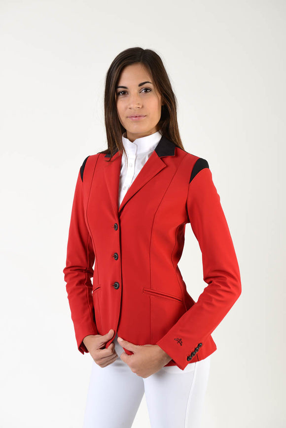 Lady horse riding jacket | model ALTEA | tech fabric | technical materials | technical fabric | riding | equestrian | Makebe | Made in Italy | clothing | jacket | riding jacket | free movememt system | comfort | comfort of movements | elastic materials | riding elastic jacket | elegance | red |