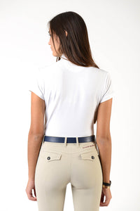 Ladies polo shirt | lady polo shirt | cotton | polo shirt | shirt | model CAROLINE | riding polo | lady polo | lady riding shirt | riding shirt | ladies riding shirt | comfort of movement | Makebe | clothing | equestrian | riding | technical material | made in Italy | elegance | white |