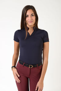Ladies short sleeve polo shirt | lady short sleeve polo shirt | cotton | short sleeves polo shirt | short sleeves shirt | model ATENA | short sleeves riding polo | lady polo | lady riding shirt | riding shirt | ladies riding shirt | comfort of movement | Makebe | clothing | equestrian | riding | technical material | made in Italy | elegance | blue |