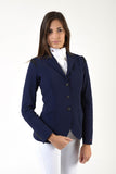 Lady horse riding jacket | model ALTEA | tech fabric | technical materials | technical fabric | riding | equestrian | Makebe | Made in Italy | clothing | jacket | riding jacket | free movememt system | comfort | comfort of movements | elastic materials | riding elastic jacket | elegance | blue |