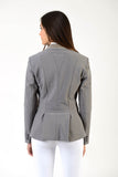 Lady horse riding jacket | model CINDY | tech fabric | technical materials | technical fabric | riding | equestrian | Makebe | Made in Italy | clothing | jacket | riding jacket | free movememt system | comfort | comfort of movements | elastic materials | riding elastic jacket | elegance | grey |