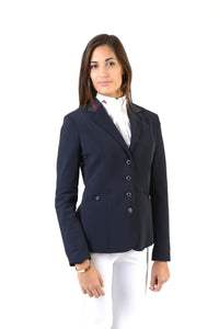 Lady horse riding jacket | model CINDY | tech fabric | technical materials | technical fabric | riding | equestrian | Makebe | Made in Italy | clothing | jacket | riding jacket | free movememt system | comfort | comfort of movements | elastic materials | riding elastic jacket | elegance | black |