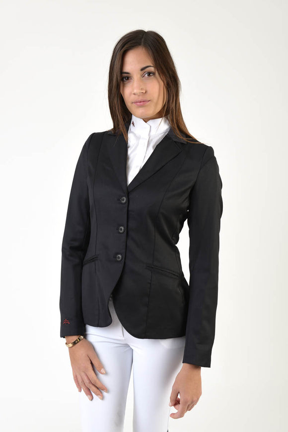 Ladies jacket | lady jacket | free movement system | comfort of movement | Makebe | clothing | equestrian | riding jacket | elegance | made in Italy | model TIFFANY | wool | insert in technical fabric | black |