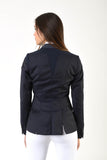 Ladies jacket | lady jacket | free movement system | comfort of movement | Makebe | clothing | equestrian | riding jacket | elegance | made in Italy | model TIFFANY | wool | insert in technical fabric | blue |