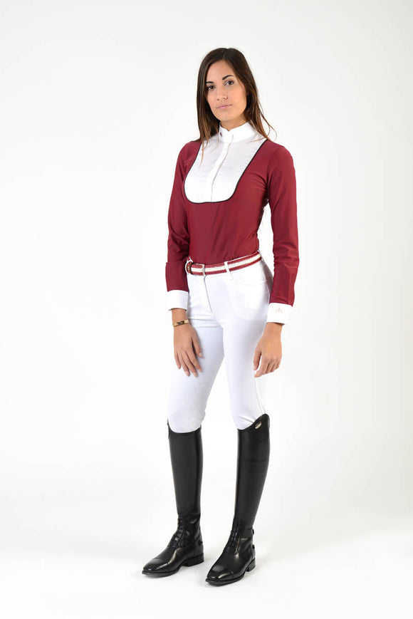 Ladies long sleeve polo shirt | lady long sleeve polo shirt | cotton | long sleeves polo shirt | long sleeves shirt | model ANGEL | long sleeves riding polo | lady polo | lady riding shirt | riding shirt | ladies riding shirt | comfort of movement | Makebe | clothing | equestrian | riding | technical material | made in Italy | elegance | red |