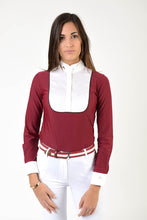 Laden Sie das Bild in den Galerie-Viewer, Ladies long sleeve polo shirt | lady long sleeve polo shirt | cotton | long sleeves polo shirt | long sleeves shirt | model ANGEL | long sleeves riding polo | lady polo | lady riding shirt | riding shirt | ladies riding shirt | comfort of movement | Makebe | clothing | equestrian | riding | technical material | made in Italy | elegance | red |