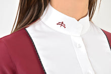 Load image into Gallery viewer, Ladies long sleeve polo shirt | lady long sleeve polo shirt | cotton | long sleeves polo shirt | long sleeves shirt | model ANGEL | long sleeves riding polo | lady polo | lady riding shirt | riding shirt | ladies riding shirt | comfort of movement | Makebe | clothing | equestrian | riding | technical material | made in Italy | elegance | red |