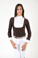 Load image into Gallery viewer, Ladies long sleeve polo shirt | lady long sleeve polo shirt | cotton | long sleeves polo shirt | long sleeves shirt | model ANGEL | long sleeves riding polo | lady polo | lady riding shirt | riding shirt | ladies riding shirt | comfort of movement | Makebe | clothing | equestrian | riding | technical material | made in Italy | elegance | brown |