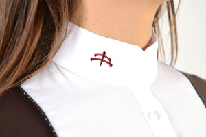 Ladies long sleeve polo shirt | lady long sleeve polo shirt | cotton | long sleeves polo shirt | long sleeves shirt | model ANGEL | long sleeves riding polo | lady polo | lady riding shirt | riding shirt | ladies riding shirt | comfort of movement | Makebe | clothing | equestrian | riding | technical material | made in Italy | elegance | brown |