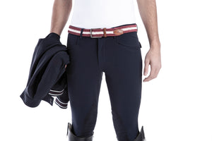 Men riding breeches | alcantara grip | model COSIMO | equestrian | riding breeches | clothing | Makebe | made in Italy | comfort of movement | grip | technical materials | blue |
