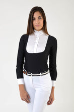 Load image into Gallery viewer, Ladies long sleeve polo shirt | lady long sleeve polo shirt | cotton | long sleeves polo shirt | long sleeves shirt | model ANGEL | long sleeves riding polo | lady polo | lady riding shirt | riding shirt | ladies riding shirt | comfort of movement | Makebe | clothing | equestrian | riding | technical material | made in Italy | elegance | black |