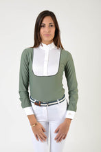 Load image into Gallery viewer, Ladies long sleeve polo shirt | lady long sleeve polo shirt | cotton | long sleeves polo shirt | long sleeves shirt | model ANGEL | long sleeves riding polo | lady polo | lady riding shirt | riding shirt | ladies riding shirt | comfort of movement | Makebe | clothing | equestrian | riding | technical material | made in Italy | elegance | grey |