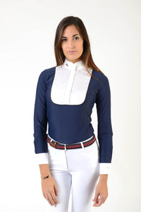 Ladies long sleeve polo shirt | lady long sleeve polo shirt | cotton | long sleeves polo shirt | long sleeves shirt | model ANGEL | long sleeves riding polo | lady polo | lady riding shirt | riding shirt | ladies riding shirt | comfort of movement | Makebe | clothing | equestrian | riding | technical material | made in Italy | elegance | blue |
