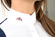 Load image into Gallery viewer, Ladies long sleeve polo shirt | lady long sleeve polo shirt | cotton | long sleeves polo shirt | long sleeves shirt | model ANGEL | long sleeves riding polo | lady polo | lady riding shirt | riding shirt | ladies riding shirt | comfort of movement | Makebe | clothing | equestrian | riding | technical material | made in Italy | elegance | blue |