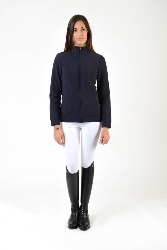 Ladies softshell | model KATE | lady softshell | riding softshell | leisure time | clothing | equestrian | jacket | lady jacket | Makebe | elegance | comfort | comfort of movement | Made in Italy | riding | blue |
