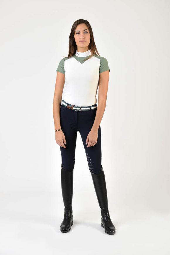 Ladies polo shirt | lady polo shirt | cotton | polo shirt | shirt | model JANE | riding polo | lady polo | lady riding shirt | riding shirt | ladies riding shirt | comfort of movement | Makebe | clothing | equestrian | riding | technical material | made in Italy | elegance | deal | deals | discounts | sales | green | white |
