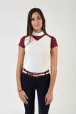 Ladies polo shirt | lady polo shirt | cotton | polo shirt | shirt | model JANE | riding polo | lady polo | lady riding shirt | riding shirt | ladies riding shirt | comfort of movement | Makebe | clothing | equestrian | riding | technical material | made in Italy | elegance | deal | deals | discounts | sales | bordeaux | white |