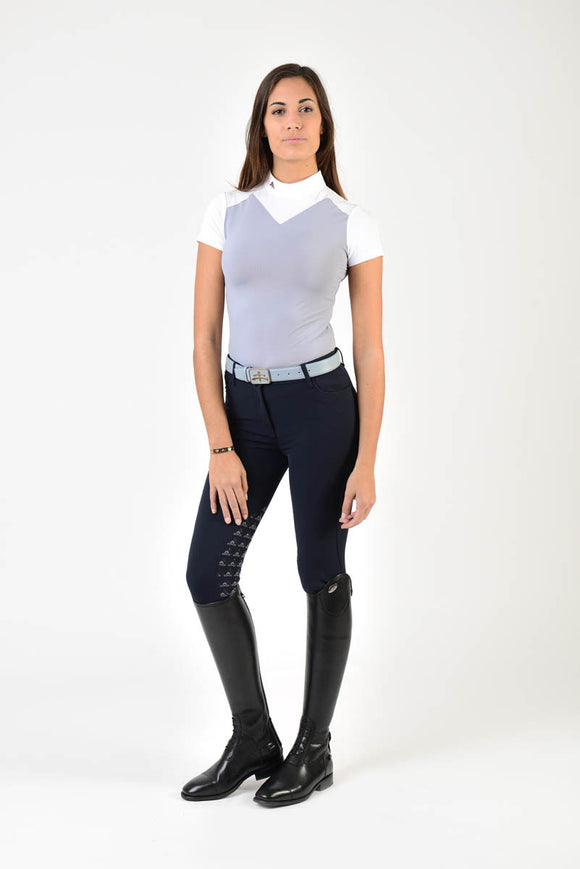 Ladies polo shirt | lady polo shirt | cotton | polo shirt | shirt | model JANE | riding polo | lady polo | lady riding shirt | riding shirt | ladies riding shirt | comfort of movement | Makebe | clothing | equestrian | riding | technical material | made in Italy | elegance | white | grey |
