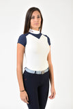 Ladies polo shirt | lady polo shirt | cotton | polo shirt | shirt | model JANE | riding polo | lady polo | lady riding shirt | riding shirt | ladies riding shirt | comfort of movement | Makebe | clothing | equestrian | riding | technical material | made in Italy | elegance | deal | deals | discounts | sales | blue | white |
