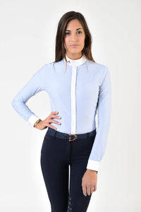 Ladies long sleeve shirt | technical fabric | lady long sleeve shirt | long sleeves shirt | long sleeves shirt | model SOFIA | long sleeves riding shirt | lady polo | lady riding shirt | riding shirt | ladies riding shirt | comfort of movement | Makebe | clothing | equestrian | riding | technical material | made in Italy | elegance | light blue |
