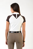 Ladies polo shirt | lady polo shirt | cotton | polo shirt | shirt | model JANE | riding polo | lady polo | lady riding shirt | riding shirt | ladies riding shirt | comfort of movement | Makebe | clothing | equestrian | riding | technical material | made in Italy | elegance | deal | deals | discounts | sales | brown | white |