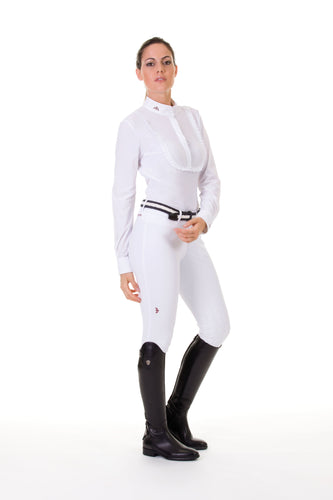 Ladies long sleeve polo shirt | lady long sleeve polo shirt | cotton | long sleeves polo shirt | long sleeves shirt |model ANGELA | long sleeves riding polo | lady polo | lady riding shirt | riding shirt | ladies riding shirt | comfort of movement | Makebe | clothing | equestrian | riding | technical material | made in Italy | elegance | white |