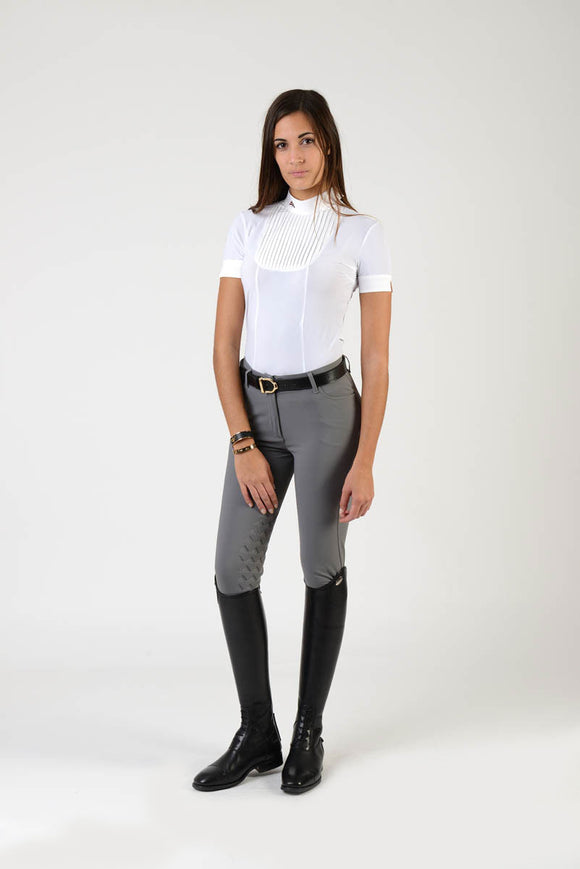 Ladies polo shirt | lady polo shirt | cotton | polo shirt | shirt | model VERONICA | riding polo | lady polo | lady riding shirt | riding shirt | ladies riding shirt | comfort of movement | Makebe | clothing | equestrian | riding | technical material | made in Italy | elegance | white