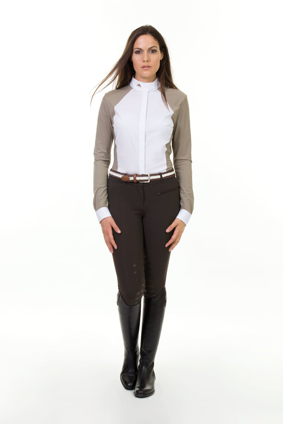 Ladies long sleeve polo shirt | technical fabric | lady long sleeve polo shirt | long sleeves polo shirt | long sleeves shirt | model MARGOT | long sleeves riding polo | lady polo | lady riding shirt | riding shirt | ladies riding shirt | comfort of movement | Makebe | clothing | equestrian | riding | technical material | made in Italy | elegance | brown | sandal |