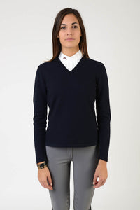 ladies merinos wool sweater | model FEBE | wool | clothing | merinos wool | lady sweater | wool sweater | equestrian | riding | leisure time | Makebe | elegance | made in Italy | blue navy |