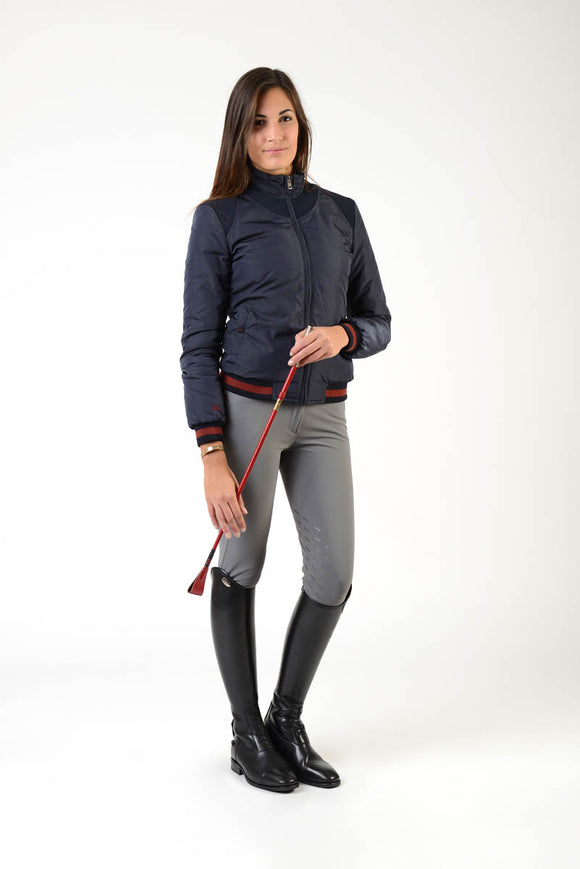 Ladies winter bomber | model JESSIE | lady winter bomber | riding winter bomber | leisure time | clothing | equestrian | jacket | lady jacket | Makebe | elegance | comfort | comfort of movement | Made in Italy | riding | blue |