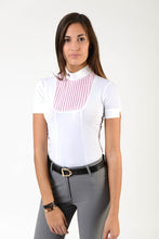 Load image into Gallery viewer, Ladies polo shirt | lady polo shirt | cotton | polo shirt | shirt | model VERONICA | riding polo | lady polo | lady riding shirt | riding shirt | ladies riding shirt | comfort of movement | Makebe | clothing | equestrian | riding | technical material | made in Italy | elegance | white | pink |